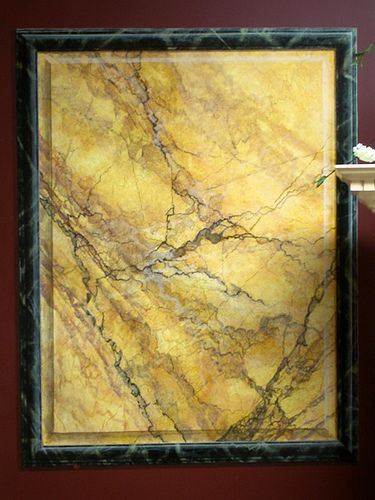 Faux sienna marble trompe l oeil paneling painted for Faux marble painting techniques