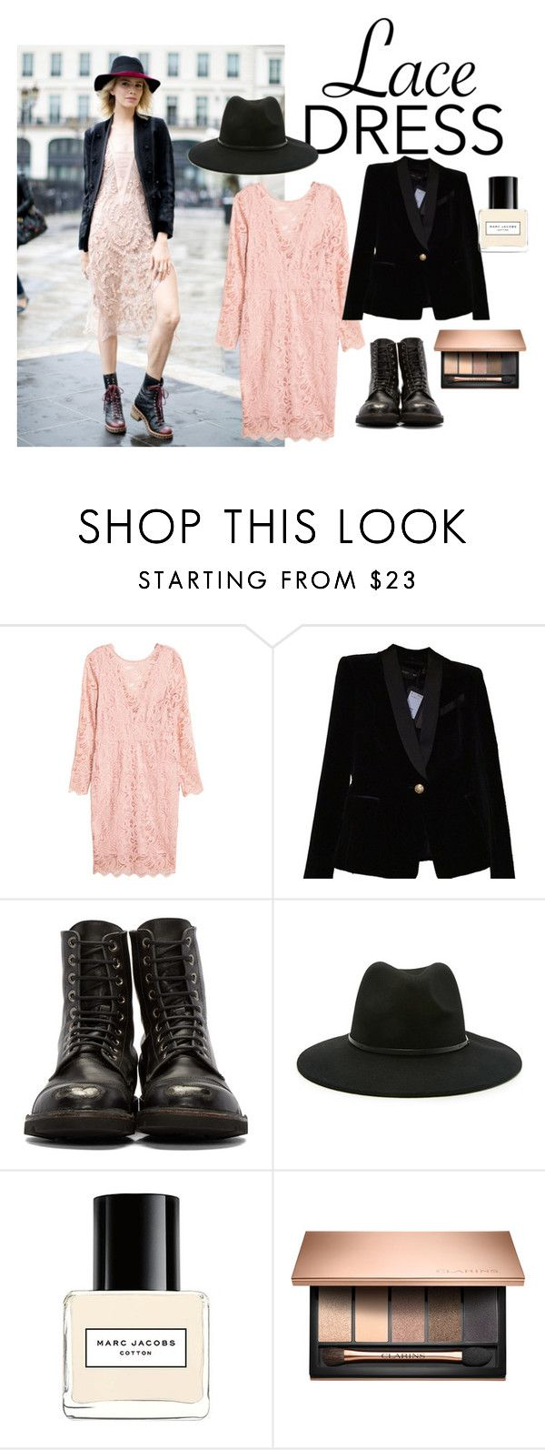 """""""lace dress"""" by redhead36 ❤ liked on Polyvore featuring Balmain, Forever 21 and Marc Jacobs"""