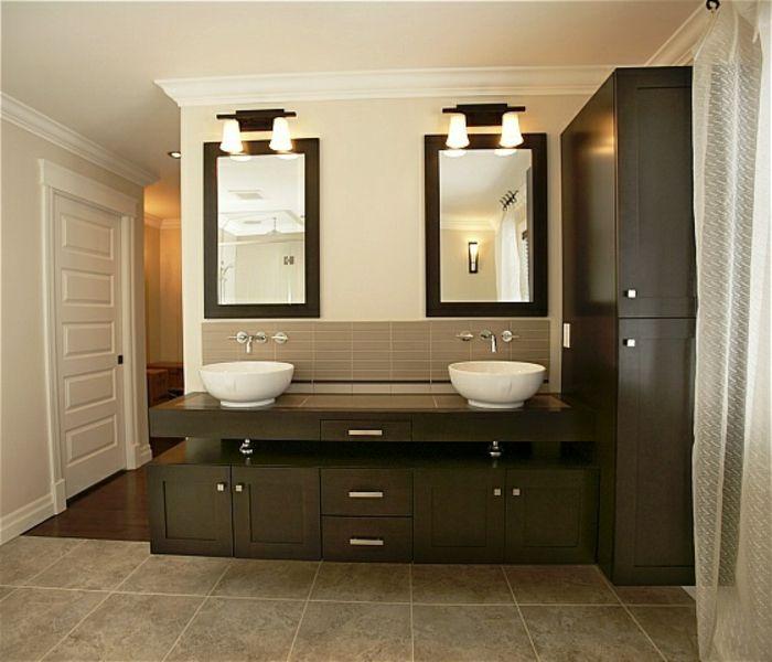 Wandschrank für Badezimmer modern zwei waschbecken Salle de bain - badezimmer wandschrank