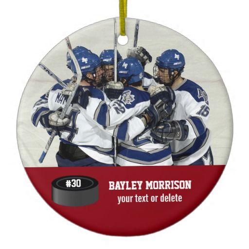 custom hockey photo player name team number ceramic ornament - Hockey Christmas Ornaments