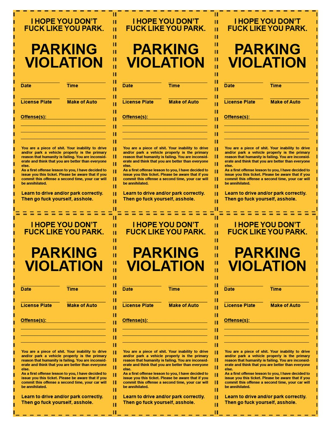 graphic regarding Printable Parking Ticket identify humorous printable parking tickets Templates and Printables