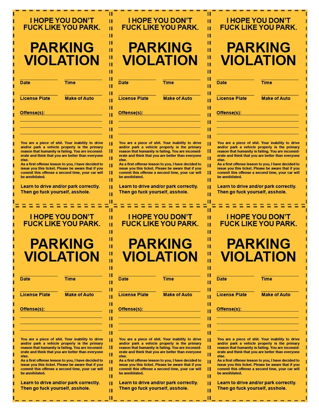 Funny Printable Parking Tickets Printout Pinterest