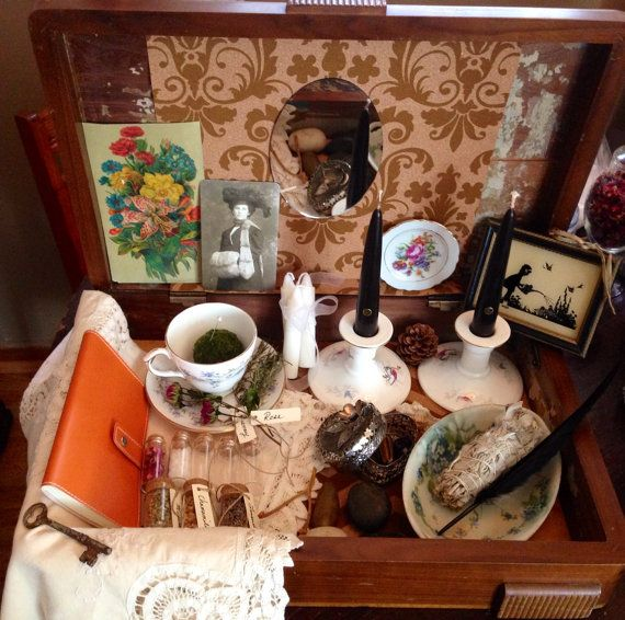 Green Witch Herbal Altar Kit Witch's Vintage Spell Kit Altar Box Herbal Magick Kit Wicca Pagan on Etsy, $77.00