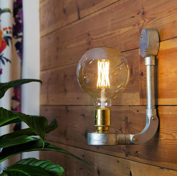 For a trendy urban warehouse feel look no further than this industrial wall light handmade using strong galvanised conduit parts and a brass lamp holder