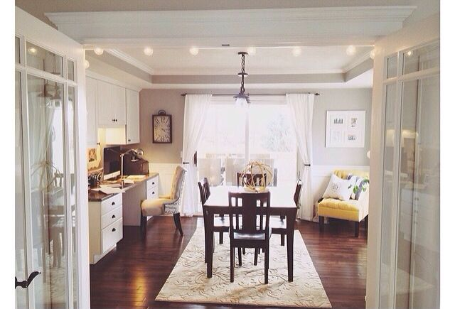 Bright dining room with desk (With images) | Dining room ...