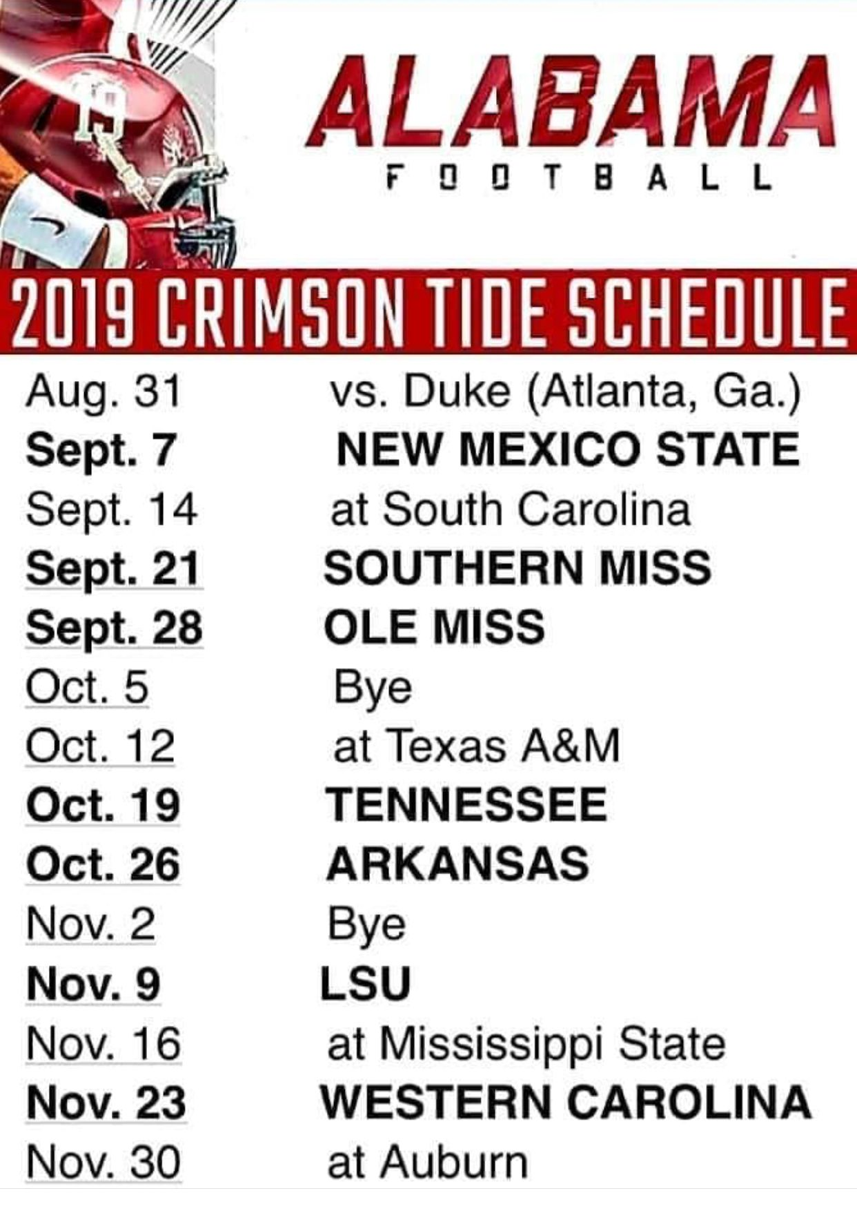 Utc Football Schedule 2020 2019 Crimson Tide football schedule | Alabama Football 2019 2020