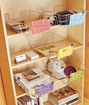 Dedicate a basket or a shelf to each day of the week and place there things you will need to take with you on that particular morning.