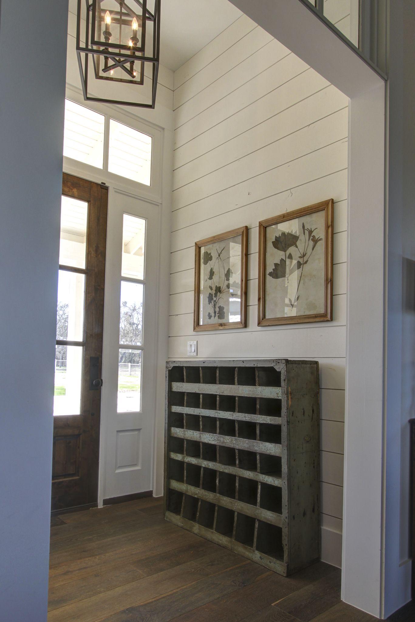 Hallway storage with sliding doors  Repurposed antique hardware tool box for hallway storage  Cottage