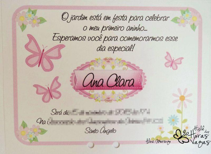 El Armario Que Plancha ~ Convite artesanal Floral jardim encantado borboletas 12x15cm Ateli u00ea das Horas Vagas