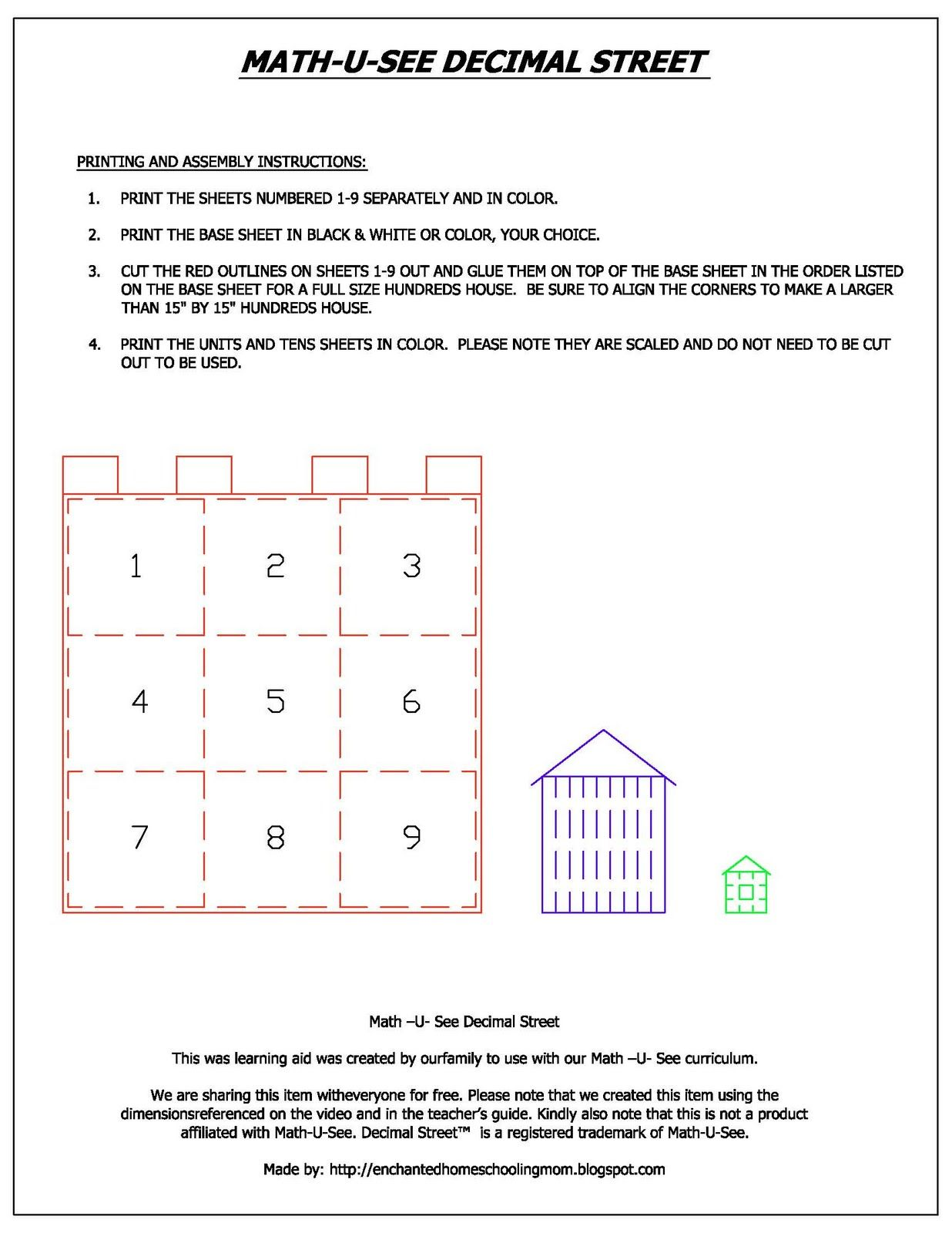 Enchanted Homeschooling Mom: Math U See Decimal Street Printable ...