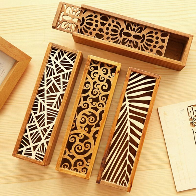 Decorative Stationery Boxes Alluring Creative Stationery Wood Lace Hollow Wooden Pencil Case Pencil Box Decorating Design