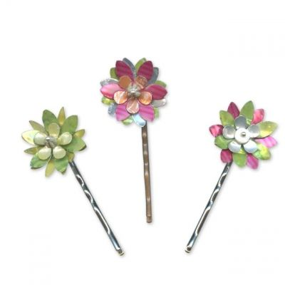 soda can flower bobby pins {she uses liquid polyclay to take away the sharp}