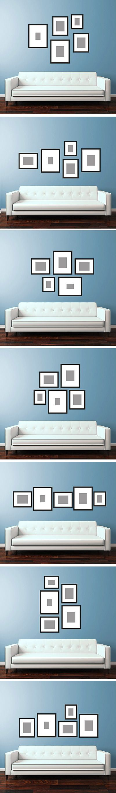 picture wall layouts to hang above your sofa | Home decor ...