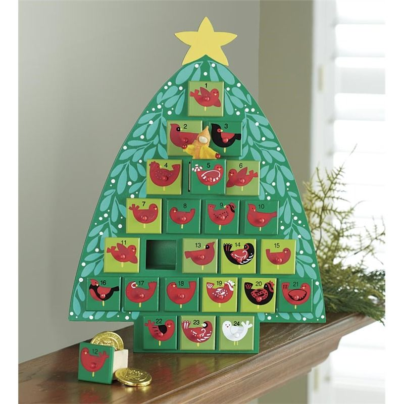 Wooden Advent Tree With Painted Birds in Gifts for the Family