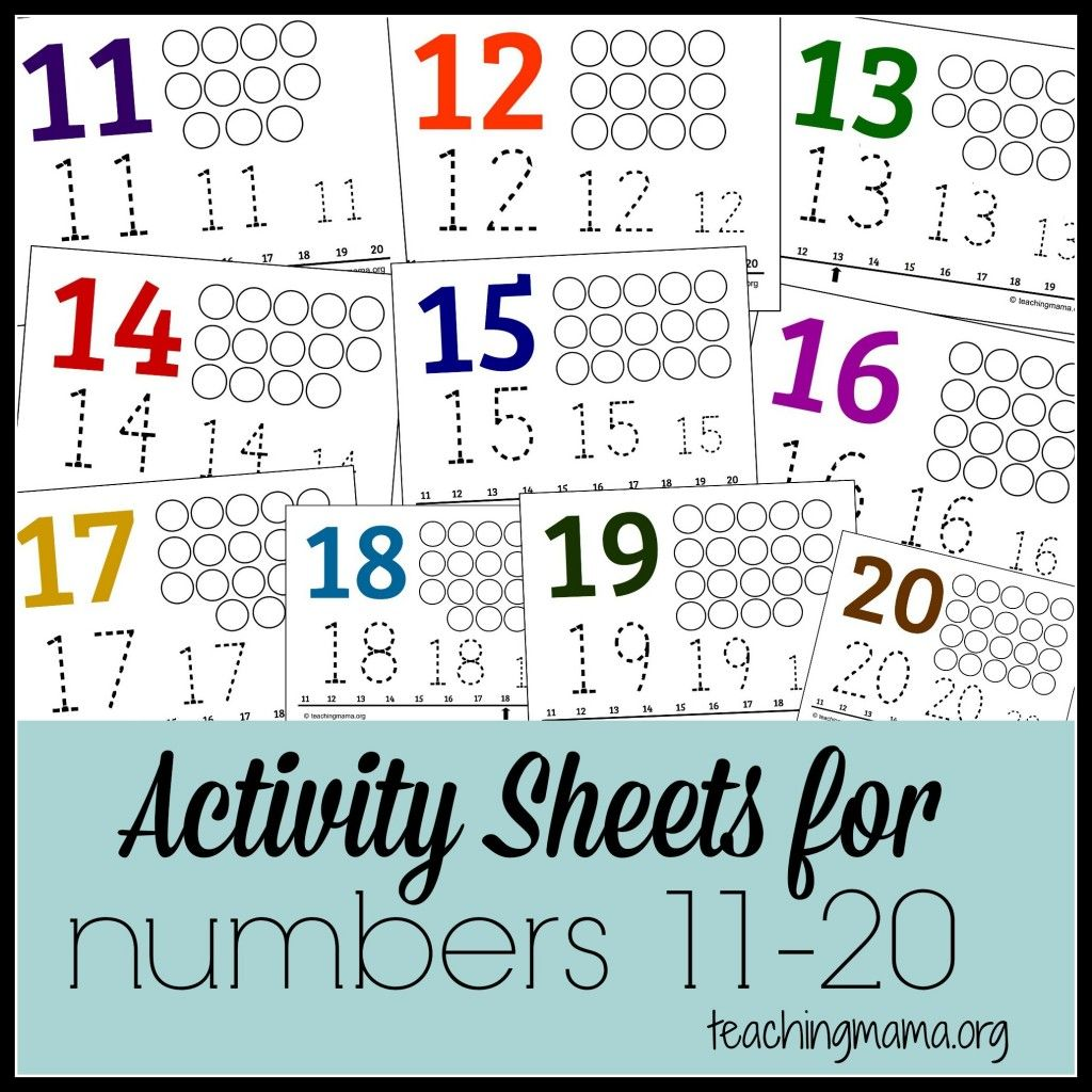 Activities for Numbers 1120 – Numbers 11-20 Worksheets