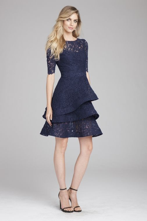 Navy Lace Tiered Dress | Teri Jon | Mother of bride | Pinterest ...