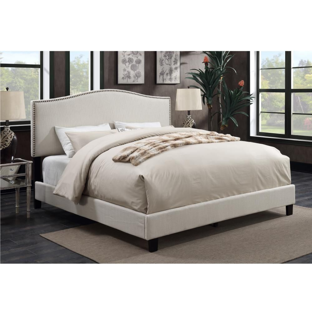 American Woodcrafters Barron Ivory King Upholstered Bed U31205