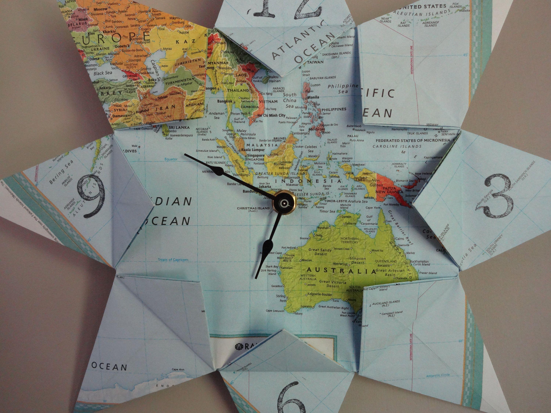 Oceania, Australia, Indonesia Origami Paper Map Clock