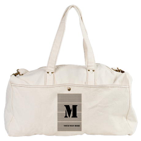 Custom Vintage Style Black Cream Pattern Duffel Bag, comfy, editable text, monogram.
