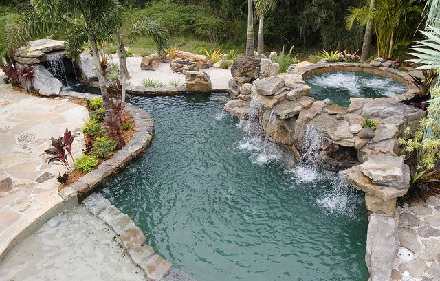 Elegant Backyard Lagoon  Swimming Pool With Natural Scapes