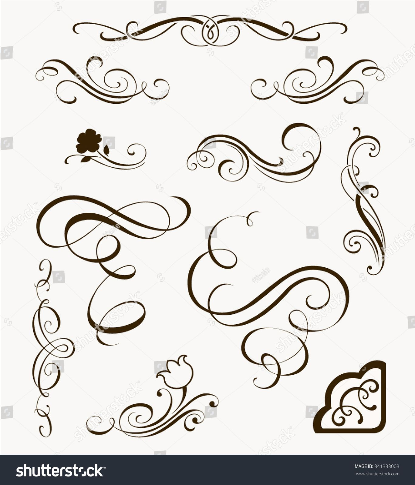Set of decorative flourish elements calligraphic