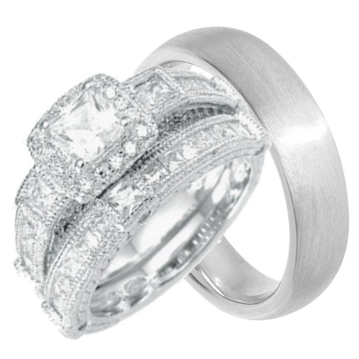 Classic His And Her Wedding Rings Set Sterling Silver Wedding Rings Sets His And Hers Wedding Ring Sets Cheap Wedding Rings Sets