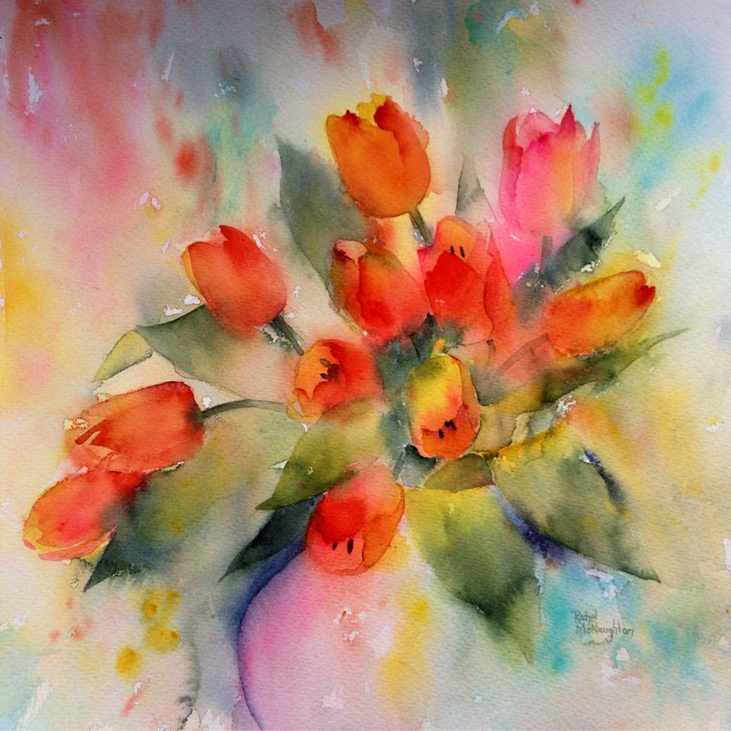 Watercolour of tulips painted wet in wet for a soft, loose ...