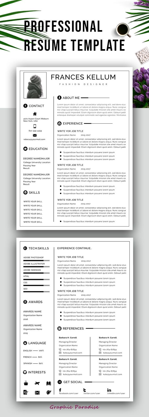 The Modern Resume Resume Template Instant Download Professional Resume Template .