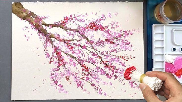 Técnica da pintura da ponta Q da árvore da flor de cerejeira | Pintura acrílica - YouTube # P...