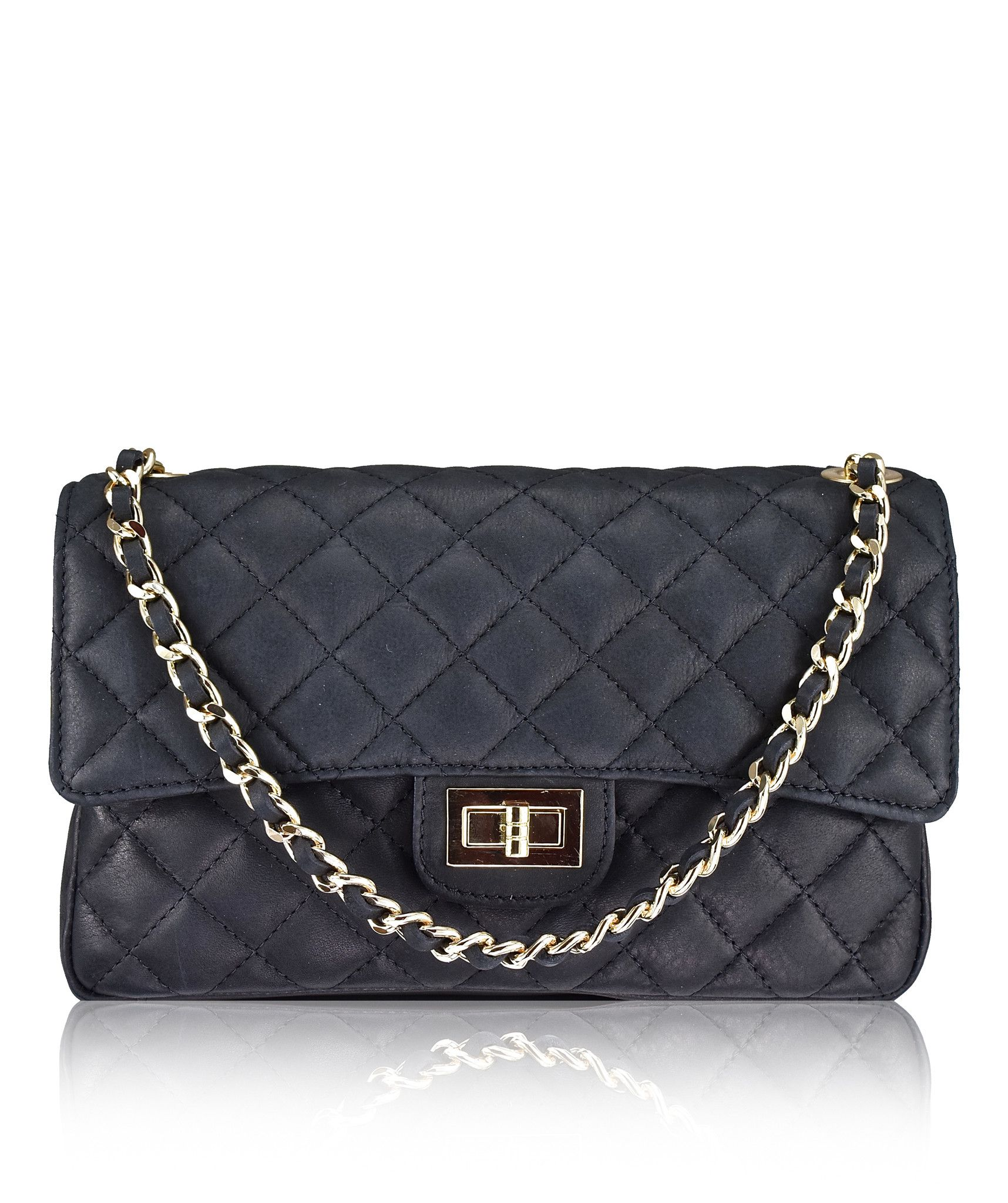Stretto Medium Black Chanel Style Italian Quilted Leather Handbag From Florence Collection