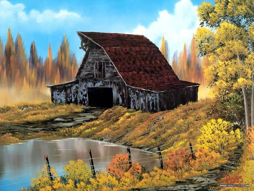 Rustic Barns rustic barns |  lanscape oil painting wallpapers 22