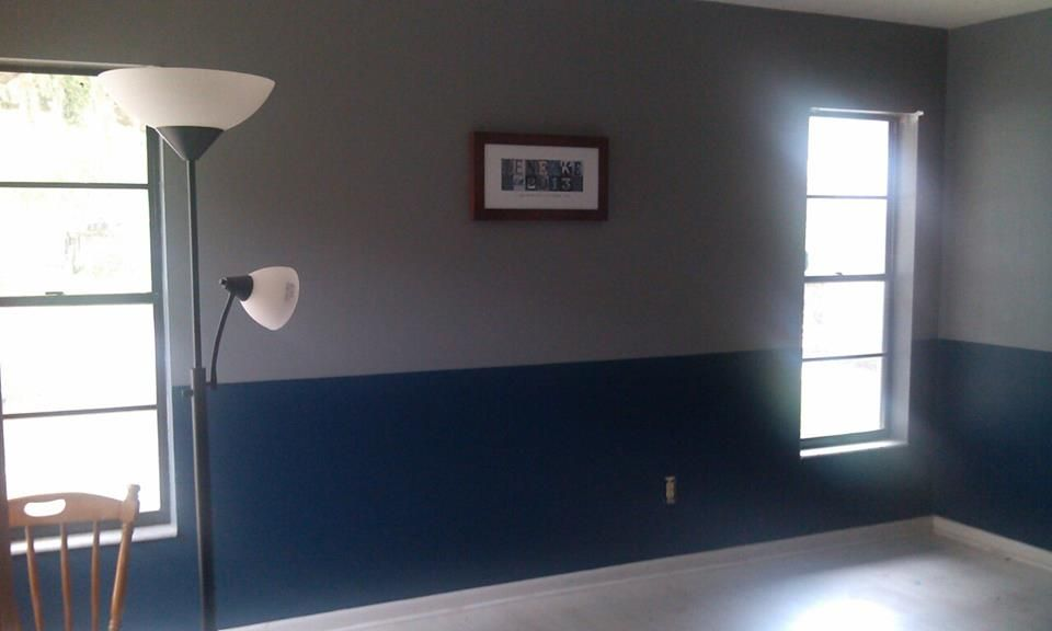Gray And Blue Two Toned Wall In My Living Room I 39 M Gonna Add Some Yellow Accents Too Just