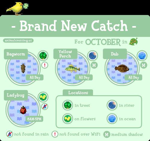 ACNL Brand New Catch October Animal crossing, Animal