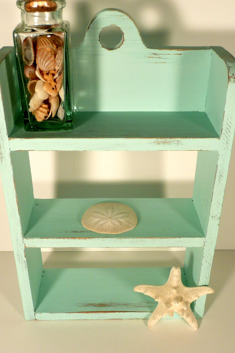 Shabby Chic Beach Aqua Knick Knack Shelf Rustic And Distressed 20 00 Via Etsy