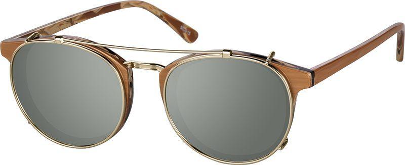 Brown round clipon set 502615 zenni optical eyeglasses