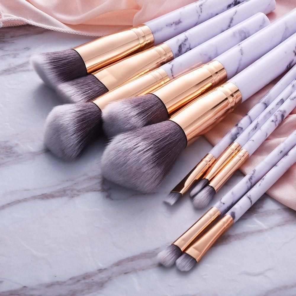 10pcs Marbling Kabuki Professional Makeup Brush Set