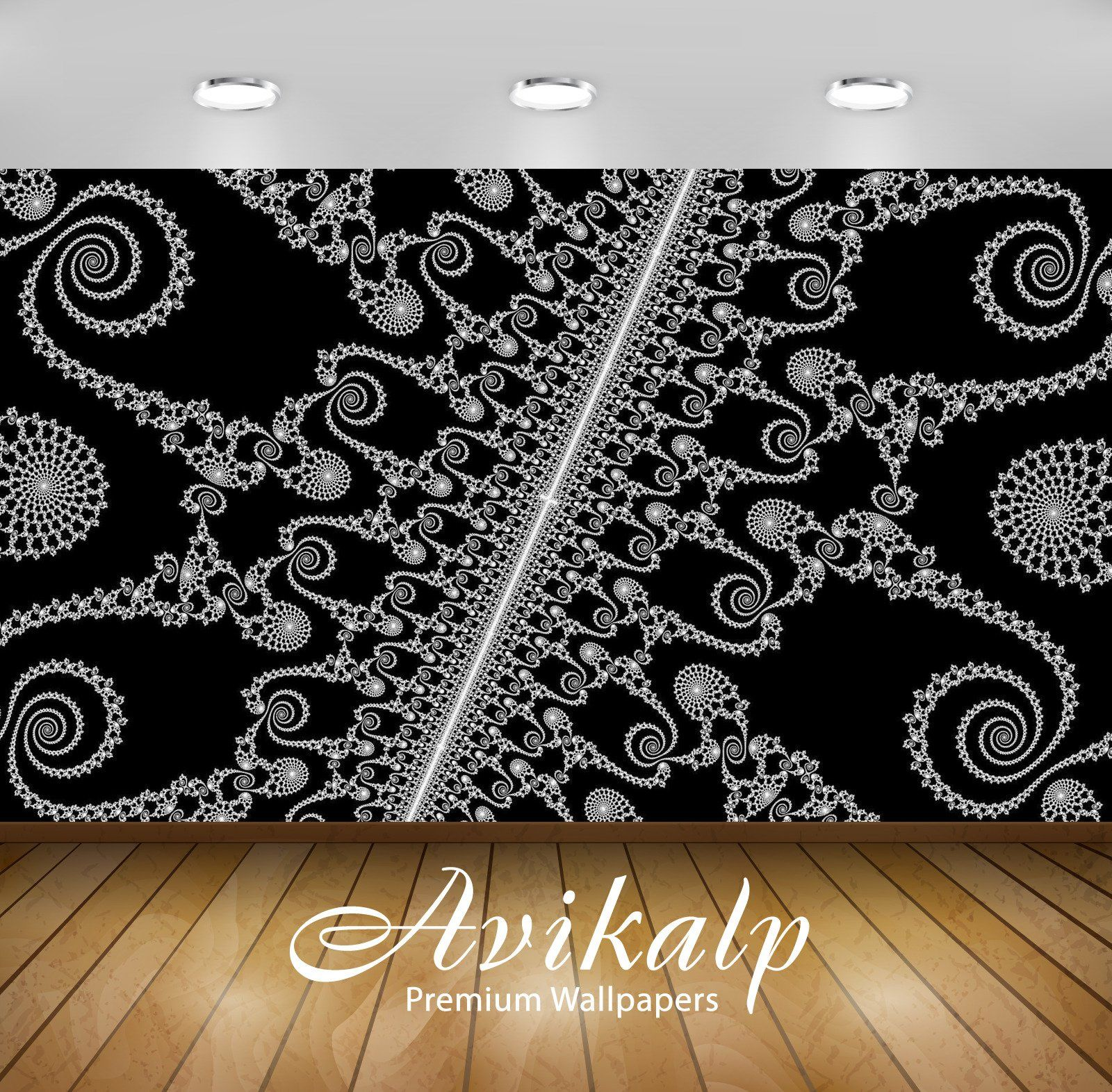 Avikalp Exclusive Awi3509 Black And White Fractal Spirals