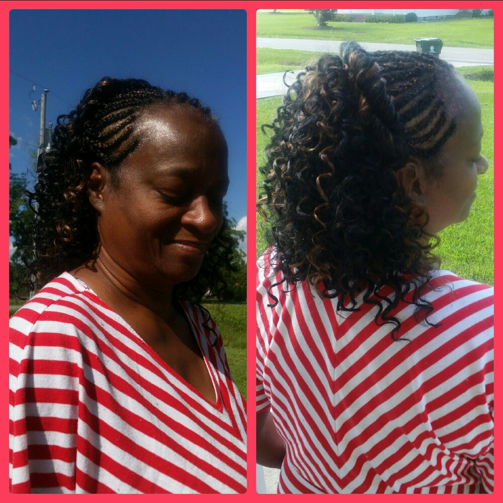 cornrows in the front with crochet braids in the back