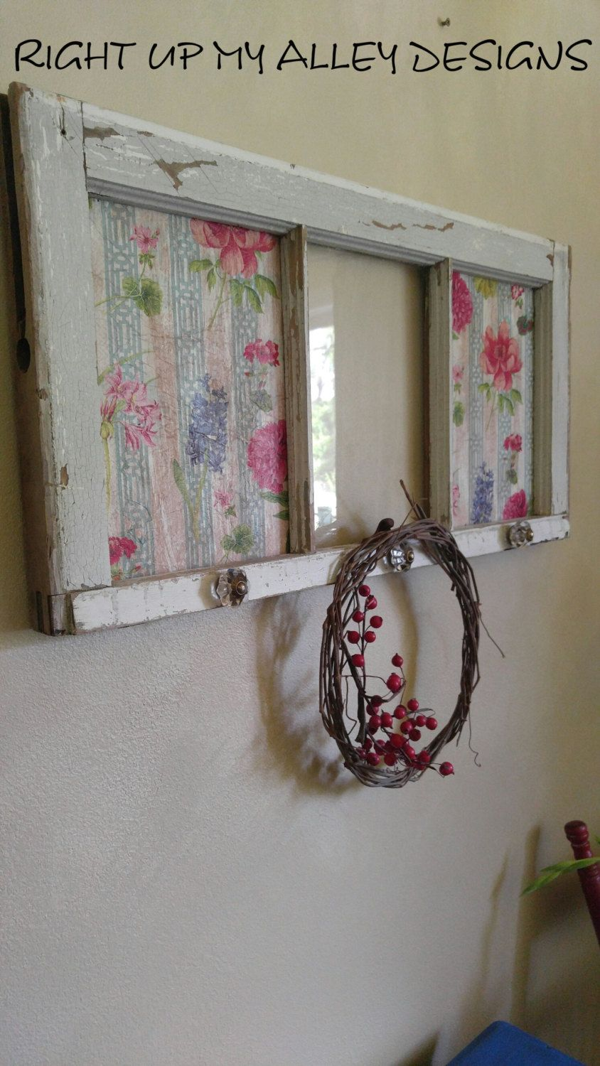 3 pane window diy this pane window art would fit nicely with shabby chic or bohemian decor the end panes wood inserts have floral paper decoupaged for fun flair and window art wall antique window