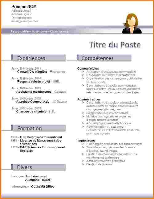model cv assistante administrative