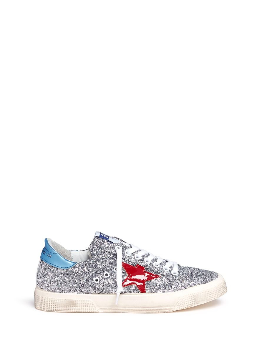 a2af896ddac97 GOLDEN GOOSE  May  glitter leather sneakers.  goldengoose  shoes ...