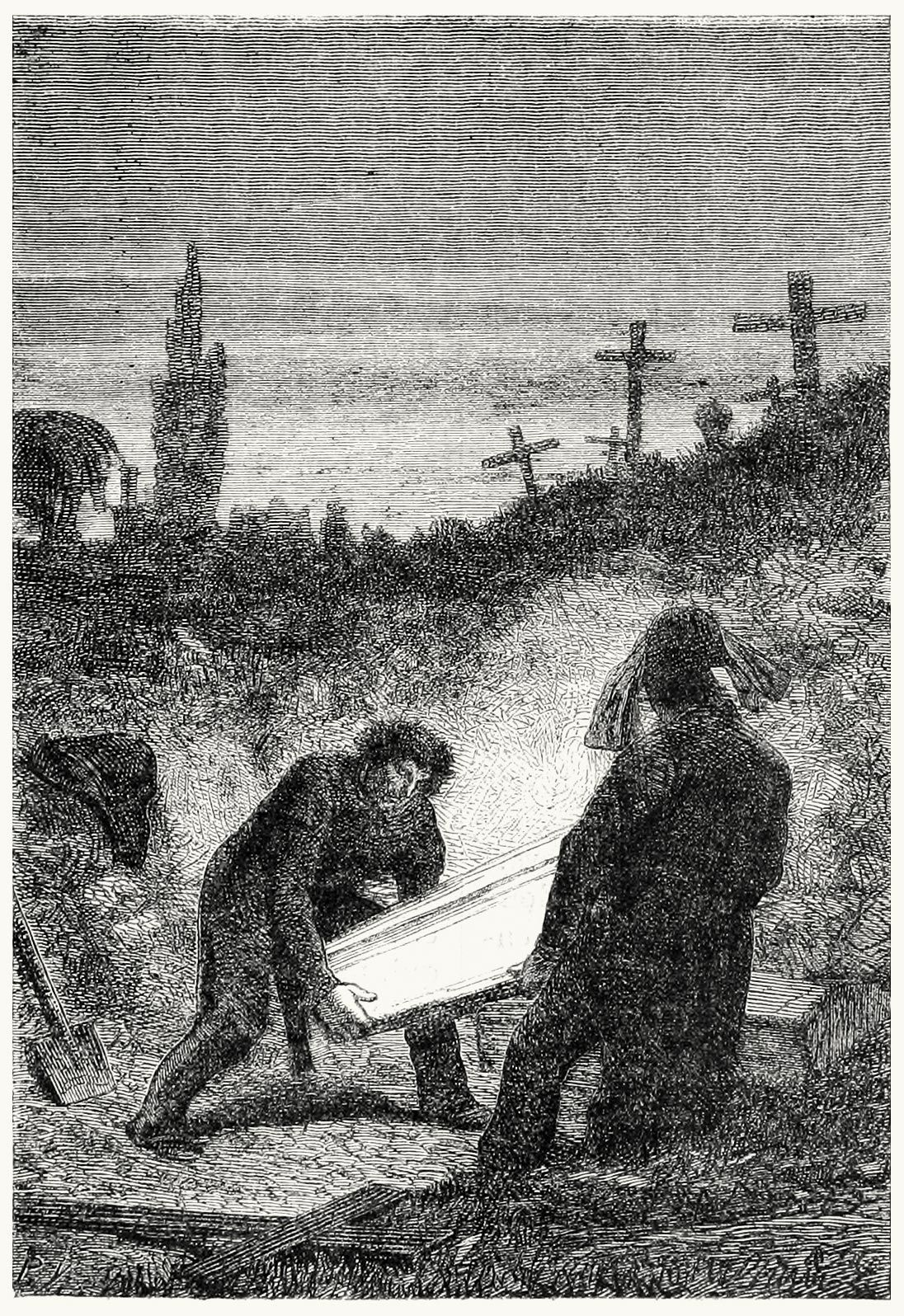 She was thrown into the public grave. Gustave Brion, from Les misérables, by Victore Hugo, Paris, 1867. (Source: https://archive.org/details/lesmisrable00hugo)