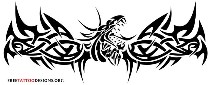 38a32d161 Cool Tribal Dragon Lower Back Tattoo Design | Tattoo's | Tribal ...