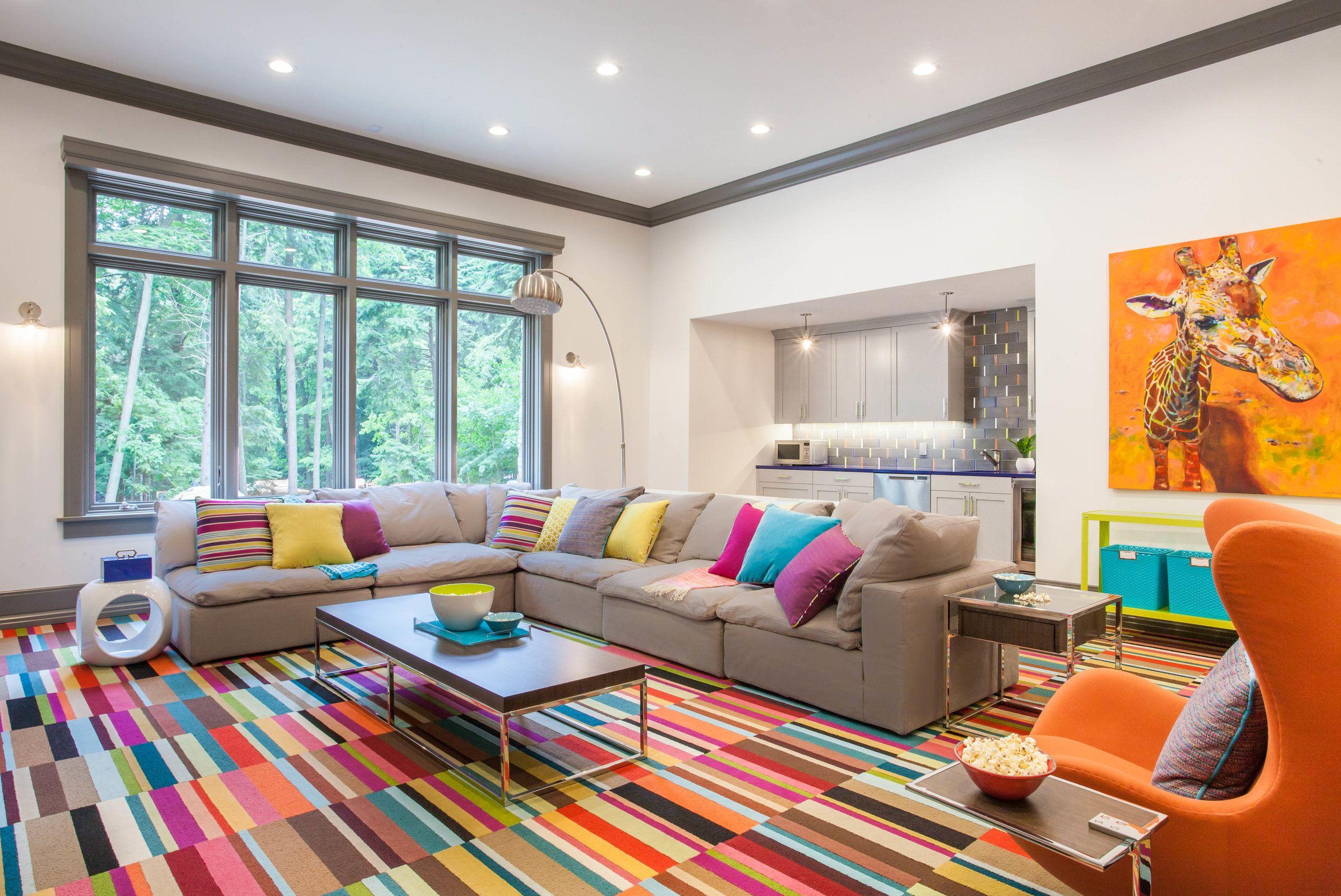 Playful Media Room Flor Carpet Tiles Striped Carpet Fuchsia Design Carpet Design Living Room Carpet Living Room Carpet Trends