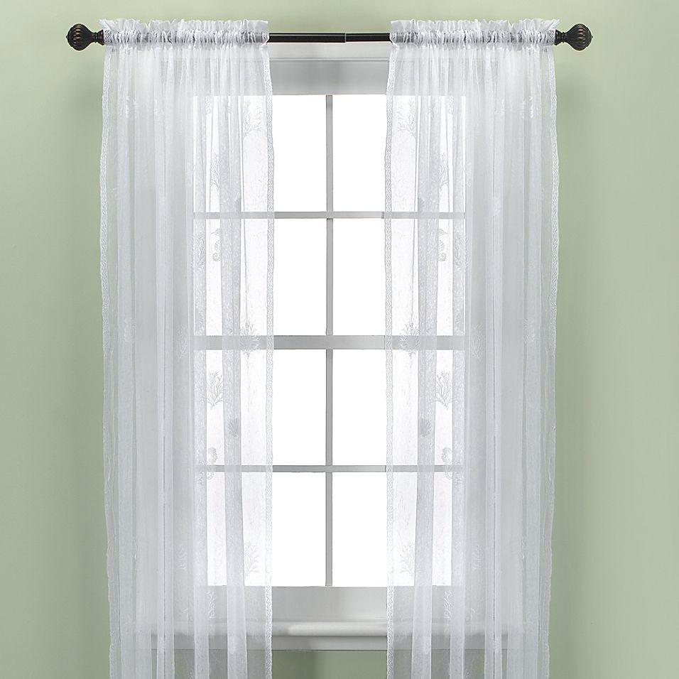 Croscill Sanibel Island 95 Sheer Window Curtain Panel In White In