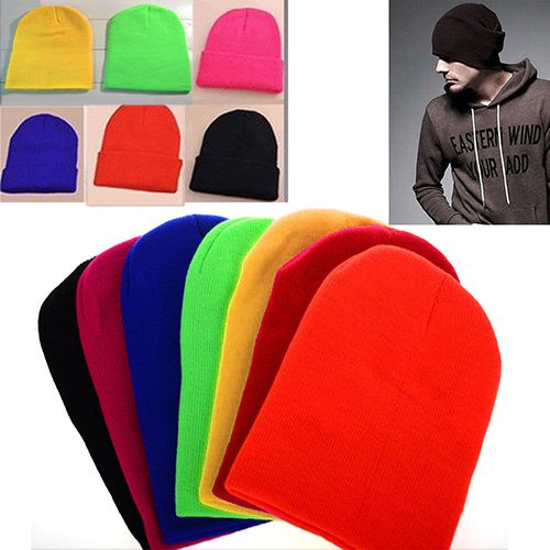 2016 Top Quality Women Men Winter Solid Color Plain Beanie Knit Cap Skull  Hat Cuff Blank Beany Retail Wholesale 5BUP 7GIY  6c29f658907