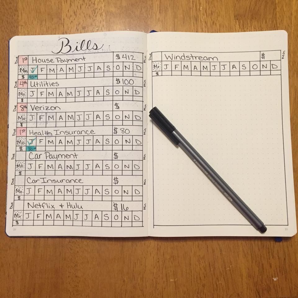 bullet journal bills tracker | A5 planner | Pinterest | Kalender ...