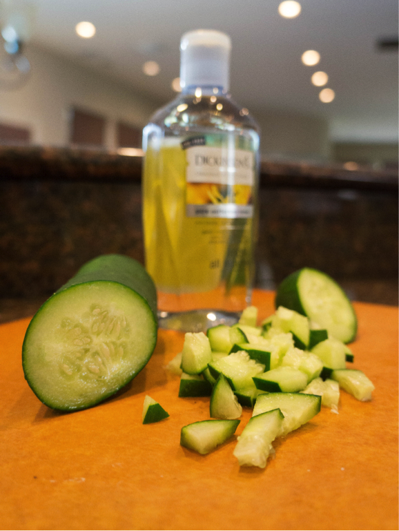 Want to remove those annoying dark circles under your eyes or reduce facial puffiness? You can easily mix up your own cucumber toner. Simply put ½ a cucumber (chopped and peeled), 3 tbsp. witch hazel, and 2 tbsp. distilled water in a blender until smooth. Remove the solid pieces by pouring into a fine-mesh sieve. Pour the toner into a clean container with a lid and refrigerate. Apply using a cotton ball and feel refreshed!
