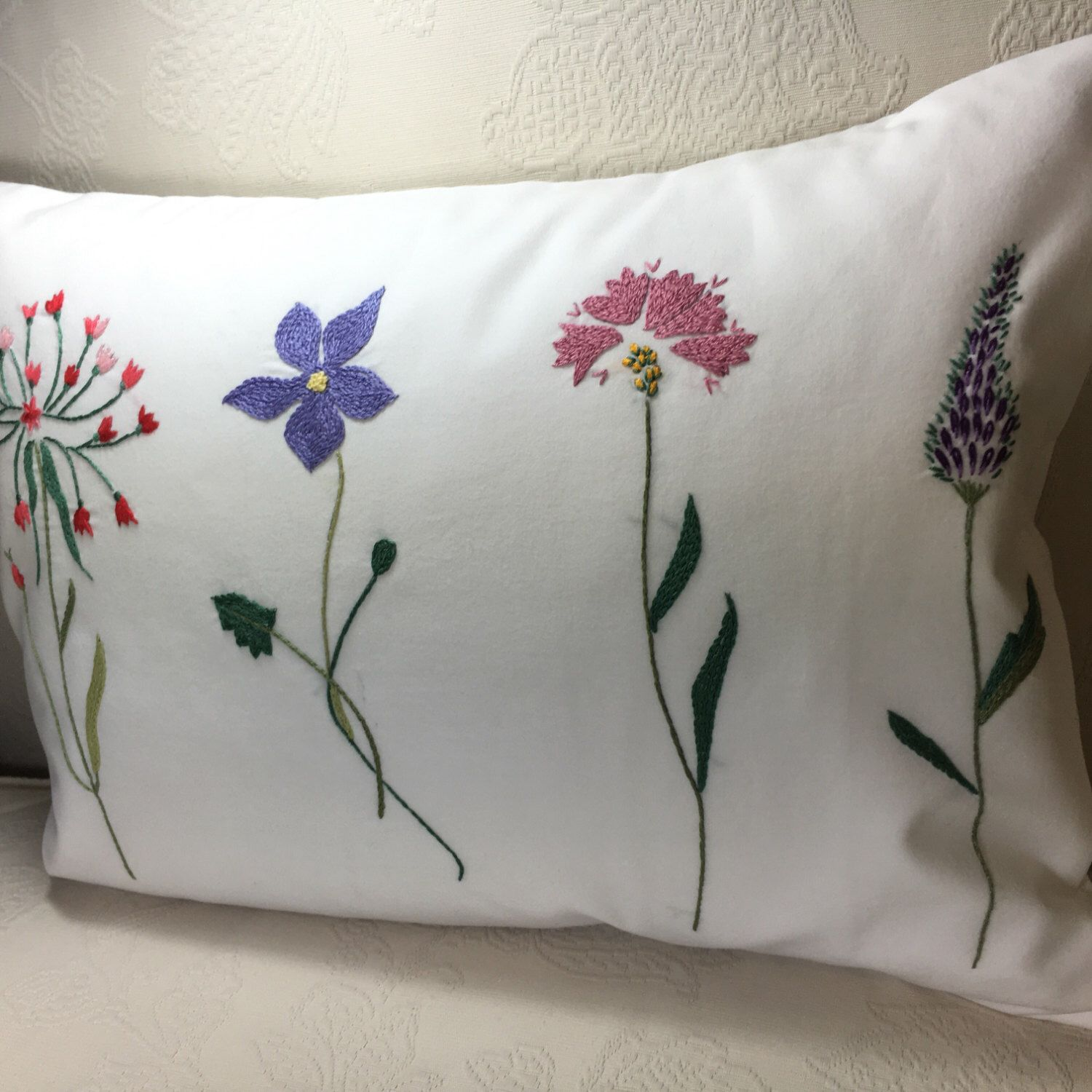 by Handembroiderypillow on Etsy https://www.etsy.com/listing/454609858/floral-pillow