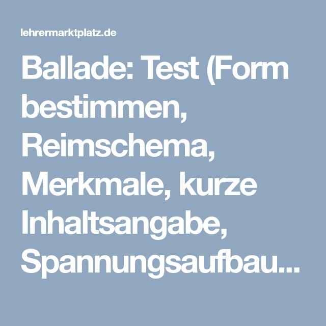 Ballade Test Form Bestimmen Reimschema Merkmale Kurze